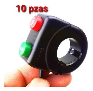 10 Piezas Switch Motocicletas Boton Doble 22mm 7/8 Mayoreo