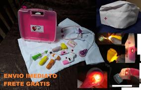 Kit Medica Infantil Com Jaleco Maleta Luz E Som 11 Peçass