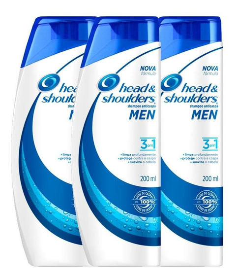 Kit C/3 Shampoos Head & Shoulders Anticaspa 3em1 Masc 200ml