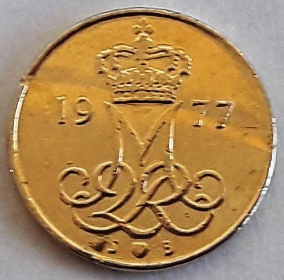 Moneda Bañada En Oro Dinamarca Año 1977 C/cápsula -inversión