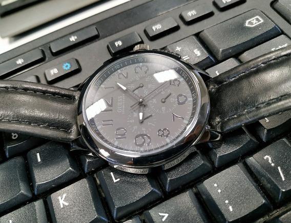 Relógio Guess Preto Pulseira Couro Legítimo 100% Original