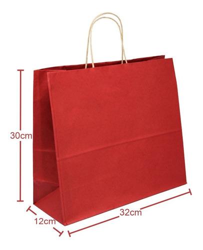 Sacola Papel Kraft 32x30x12 100 Un Vermelho