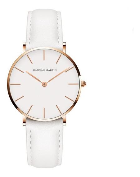 Relógio Hannah Martin Pulseira De Couro Quartzo Japonês
