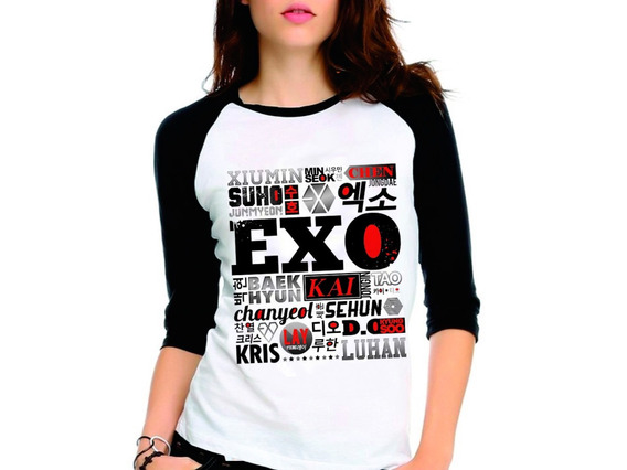 Camiseta Exo Integrantes Kpop Exo-l Raglan Babylook 3/4