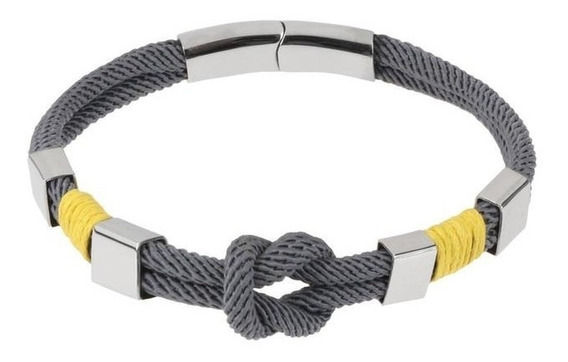 Pulsera Royal Flush Doble Textil Gris Con Nudo, Refuerzos De