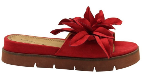 Zapatos Sandalias Bajas Mujer Dama Flor Rojo Leblu Z142