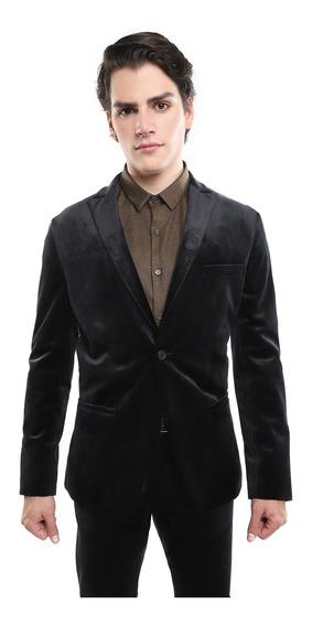 Saco Hombre Estampado Terciopelo Color Negro Lob