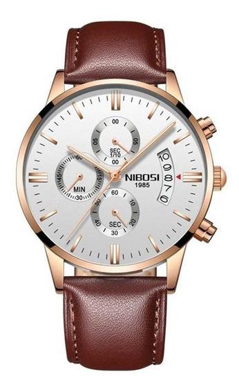 Relógio Masculino Nibosi 2309 Funcional Couro Garantia Nf