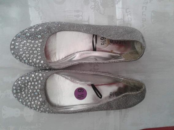 Zapatos Chatitas Dorado/ Plateado Piedras Talle 36.5 U.s.a