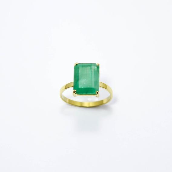 Anel Em Ouro 18k-750 Com Esmeralda Natural