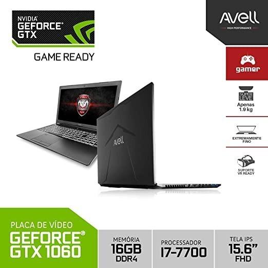 Notebook Avell G1540lite I7 7700hq 16 Ram 480 Ssd Gtx 1060