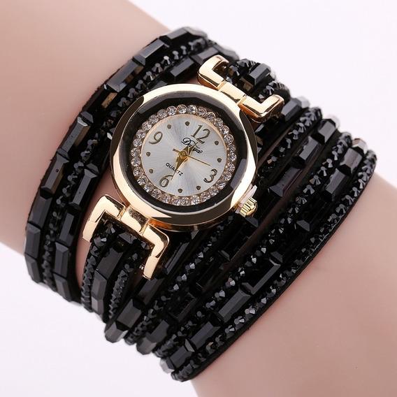 Reloj De Pulsera De Cuarzo Multicapa De Diamantes De Imitaci