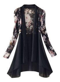 Blusa Kimono Floral Cardigan Camisa Estampada Bata Feminino