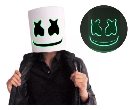 Casco Disfraz Máscara Dj Marshmallow Luz Led Verd Marshmello