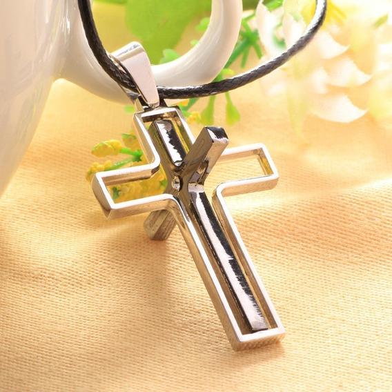 Colar Cordão Cruz Crucifixo Giratória Metal