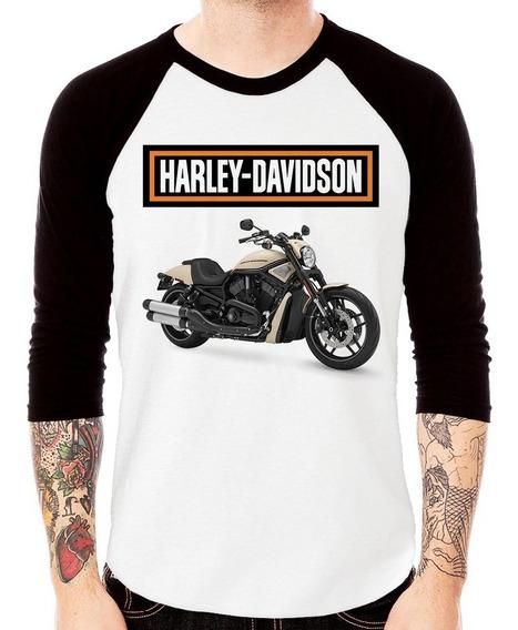Camiseta Raglan Moto Harley Davidson V-rod Sand 3/4