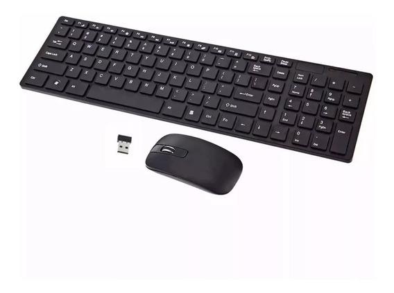 Kit Mini Teclado Mouse Wireless Sem Fio Pc Notebook Smart Tv