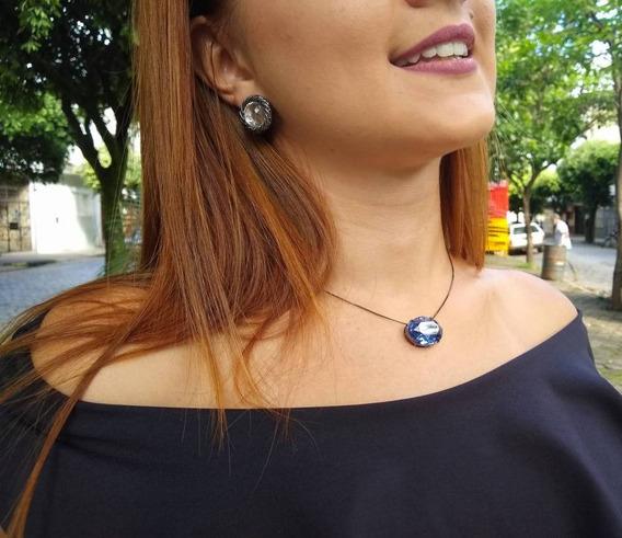 Colar Oval Azul Regulável Azul Royal Lagosta