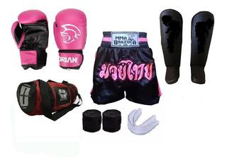 Kit Completo Muay Thai Luva Caneleira Bandagem Acessórios