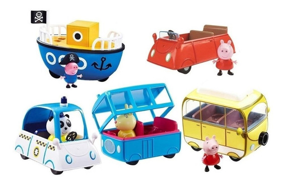 Peppa Pig Vehiculo Con Figura Auto School Police Boat Van