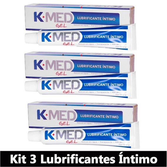 Kit Com 3 Lubrificante Gel Íntimo K-med Sexo Anal E Vaginal
