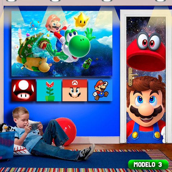 Kit Gamer Papel De Parede 6pçs Super Mario Sala De Jogos Top