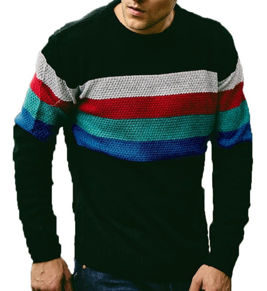 Sweater Algodon Rayado Escote Redondo | Taverniti (16486)