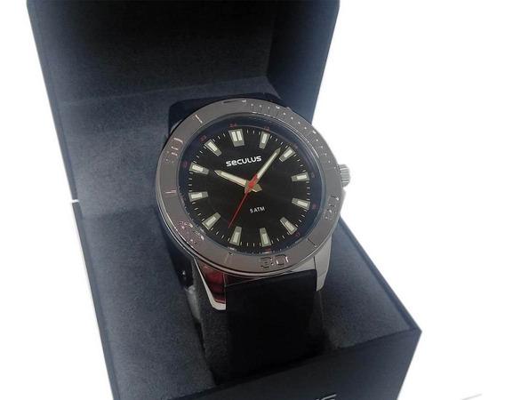 Relógio Seculus Masculino Analógico Pulseira De Silicone 5atm 23611g0svni1