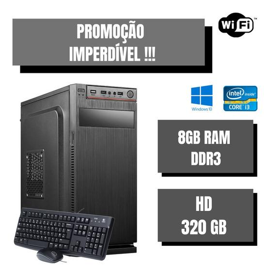 Cpu Desktop Nova Montada I3 8gb Ram Hd 320gb Win10 Brinde !!