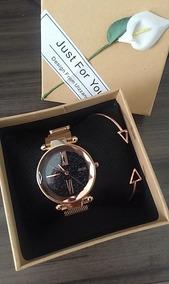Relógio Céu Estrelado Pulseira Magnética Bracelete E Caixa