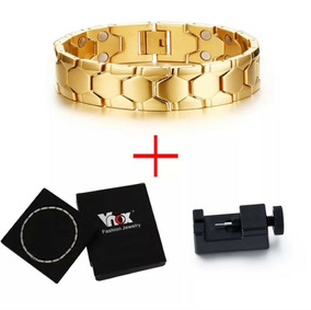 Pulseira Bracelete Masculina Magnética Banhada Ouro 18k Kit