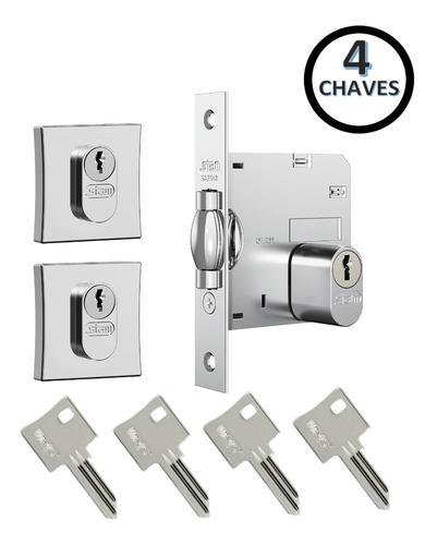 Fechadura Rolete Stam 1005 Par Porta Pivotante Com 4 Chaves