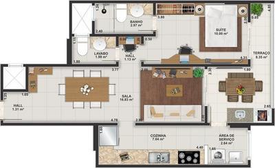 Apartamento Para Venda, Guilhermina, 1 Dormitório, 1 Suíte, 1 Banheiro, 1 Vaga - Ap00046