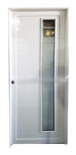 Puerta Aluminio Blanco Entrada Vidrio Opaco Ciega 80x200 Epo