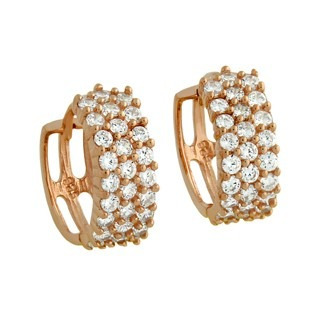 Rose Gold Plated Round Huggie Earrings With Cz Pave