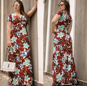 Vestido Longo Estampado Casual Gospel Discreto Decote V #es