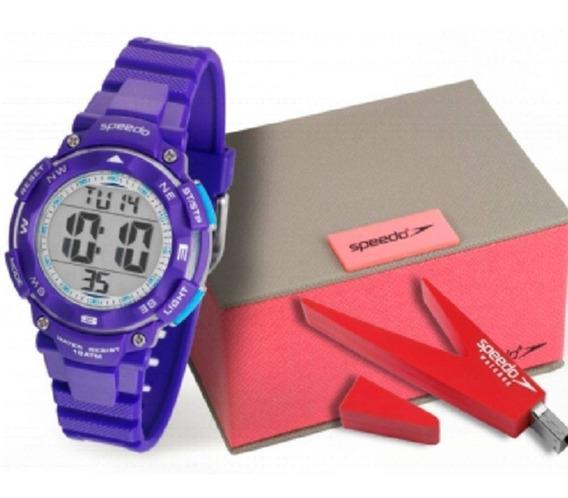 Relógio Speedo Feminino Azul Com Pen Drive 80616l0evnp3k1