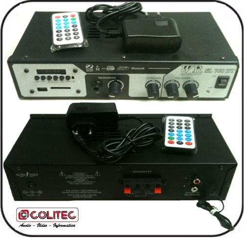 Amplificador Cabeçote 35w Rms C Controle Fm Bt Sd Usb