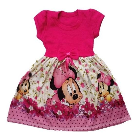 Vestido Infantil Minnie Baby Rosa Malha - Roupa/fantasia