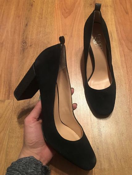 Zapatos Tacones Franco Sarto Piel Suede Negros Sline 24 Orig