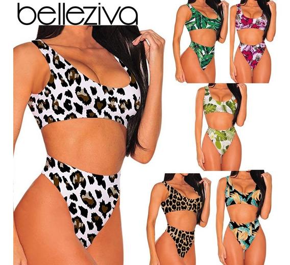 Bikini Sexy Con Estampado De Cintura Alta Para Mujer