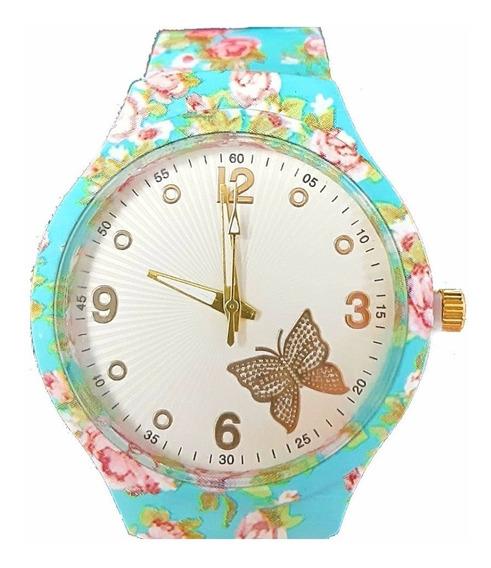 Relógio Para Mulher De Pulso Floral Analógico + Caixinha