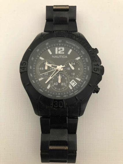 Relógio Náutica Preto Caixa Média