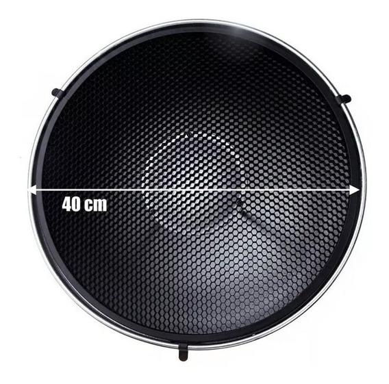 Rebatedor Beauty Dish Prata 420mm Greika Com Colméia
