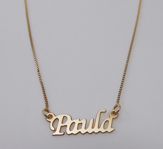 Corrente Folheada A Ouro Com O Nome Paula