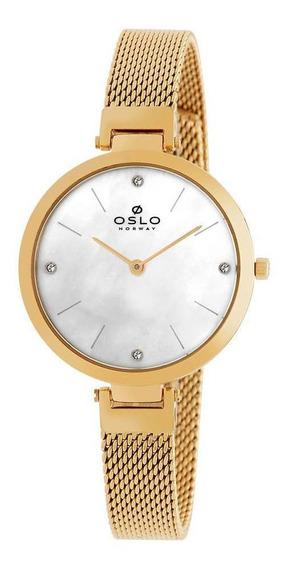 Relógio Feminino Slim Dourado Com Madrepérola Branca Oslo+nf