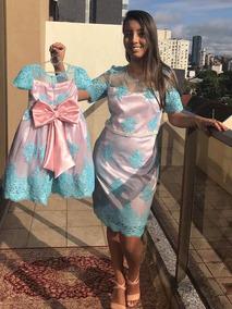 Vestido De Festa Tal Mãe Tal Filha Renda Azul Tam G Tam 1