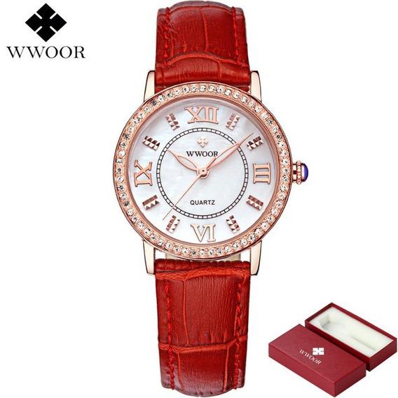 Relógio Wwoor Feminino Couro Quartz 8807 Vermelho