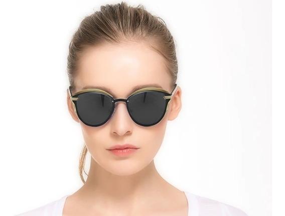 Lentes Gafas De Sol Polarizadas Mujer Barcur Cat Eye Negro