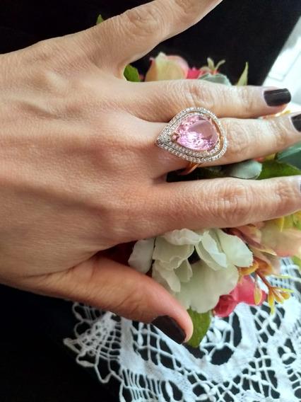 Anéis Bruto,ou Individual, Pedra Rosê Com Zirconias.